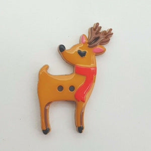 Reindeer Christmas Buttons - Festive Loose 2 Hole Flat Back Xmas Buttons