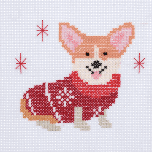 Corgi - Christmas Counted Cross Stitch Kit - Beginners/Childrens Starter - Trimits