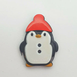 Penguin Christmas Buttons - Festive Loose 2 Hole Flat Back Xmas Buttons