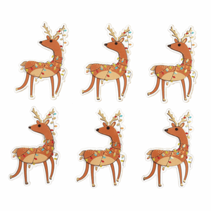 6 x Festive Reindeer - Self Adhesive Christmas Craft Embellishments