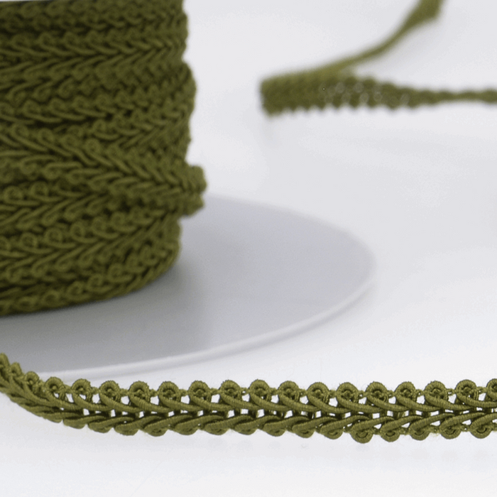 Moss Green - Stephanoise 6mm Gimp Braid Scroll Trim - Upholstery Dress Costume