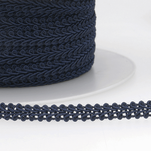 Navy Blue - Stephanoise 6mm Gimp Braid Scroll Trim - Upholstery Dress Costume