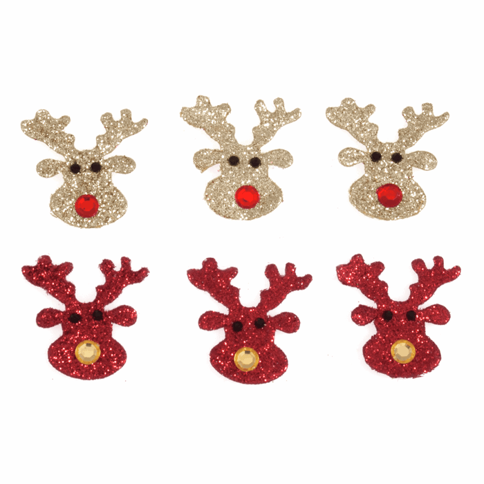 6 x Red & Gold Glitter Reindeer - Self Adhesive Christmas Craft Embellishments