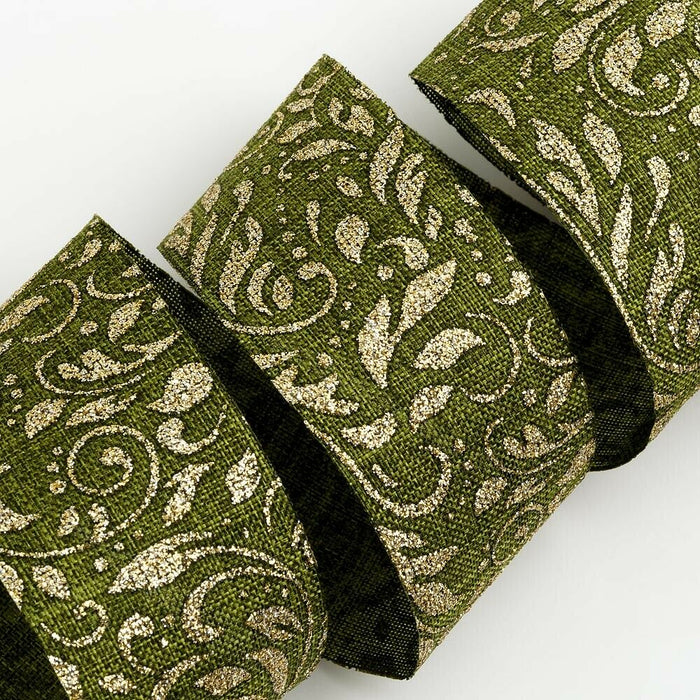 38mm Lurex Leaf - Green With Gold Leaves - Wired Edge - Christmas Ribbon - Gift Wrapping, Card Making, Tree Decorating