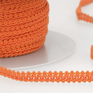 Orange - Stephanoise 6mm Gimp Braid Scroll Trim - Upholstery Dress Costume