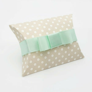 Taupe Polka Dot - Pillow Shaped Jewellery Wedding Gift Favour Boxes - With or Without Ribbon & Bow