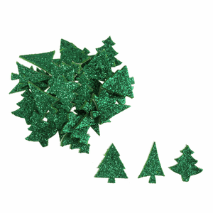 60 x Green Glitter Xmas Trees - Self Adhesive Christmas Craft Embellishments