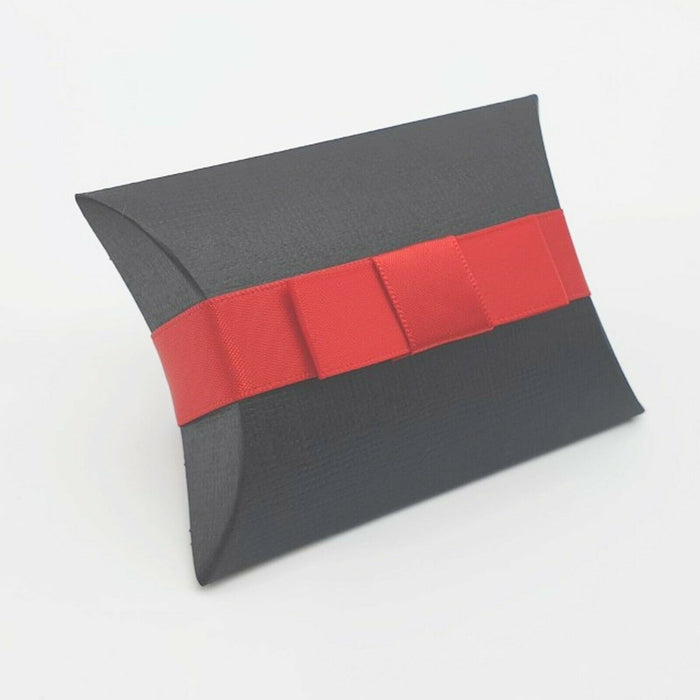Black - Silk Effect - Pillow Shaped Jewellery Wedding Gift Favour Boxes - With or Without Ribbon & Bow