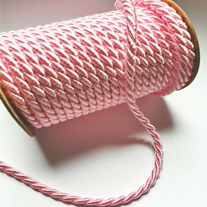 Baby Pink - 6mm Satin Twisted Barley Braid Cord Rope Trim - Upholstery Xmas