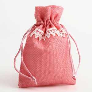 Pink With Lace - Drawstring Favour Bags 1, 5 or 10 Pack Wedding Christmas Favours - Linen Bag