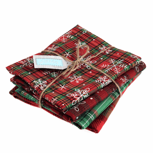 Plain And Printed Christmas Tartan Fat Quarter Bundle - 4 Pack - Trimits - Christmas Crafts Gifts Stockings