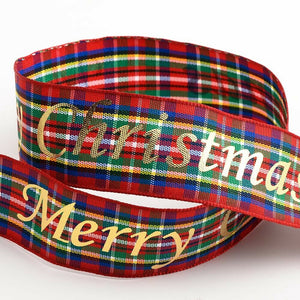 25mm Tartan Merry Christmas - Christmas Ribbon - Gift Wrapping, Card Making, Tree Decorating