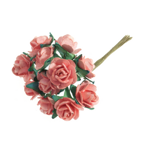 Peach 1.5cm Miniature Paper Tea Roses - Bunch of 12 Stems