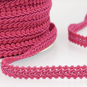 Raspberry - Stephanoise 6mm Gimp Braid Scroll Trim - Upholstery Dress Costume