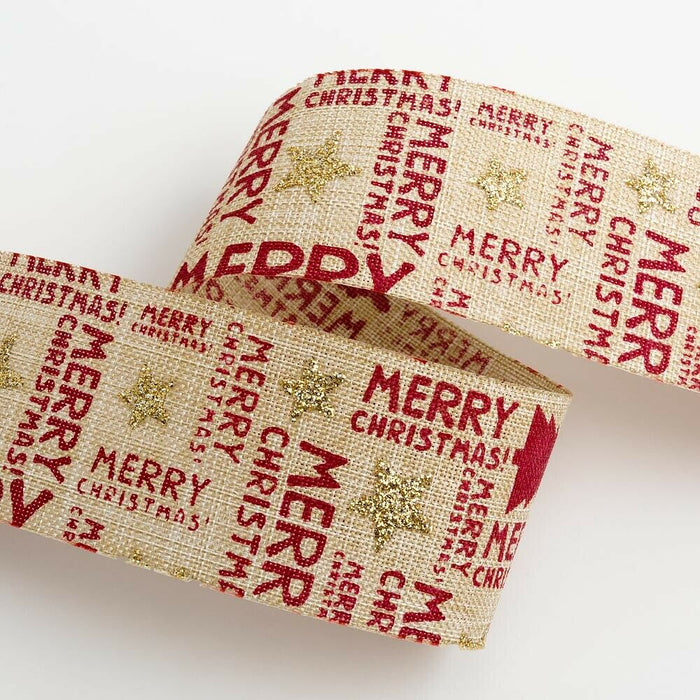 38mm Hessian Merry Christmas - Natural Hessian - Christmas Ribbon - Gift Wrapping, Card Making, Tree Decorating