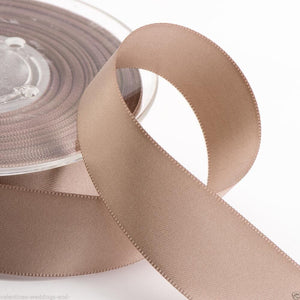 Taupe Satin Ribbon - Double Faced - 6 Widths - Craft / Sewing