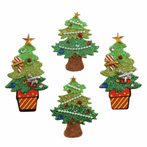 4 x Decorated Glitter Xmas Trees - Self Adhesive Christmas Craft Embellishments