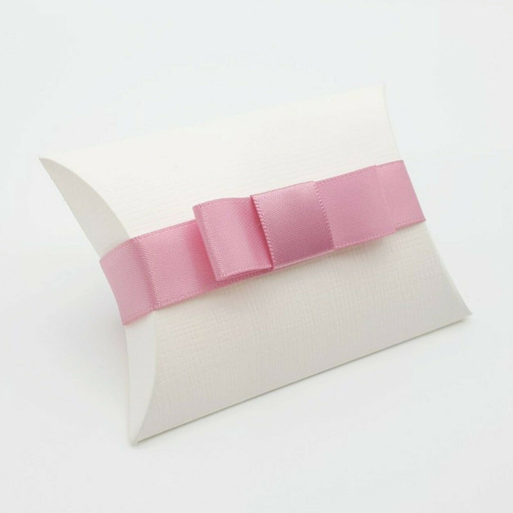 Ivory - Silk Effect - Pillow Shaped Jewellery Wedding Gift Favour Boxes - With or Without Ribbon & Bow