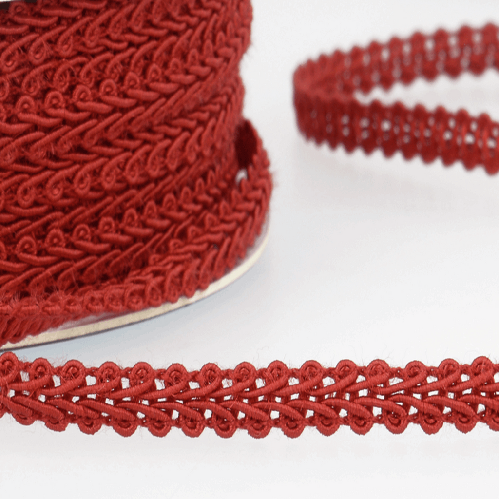 Ruby Red - Stephanoise 6mm Gimp Braid Scroll Trim - Upholstery Dress Costume