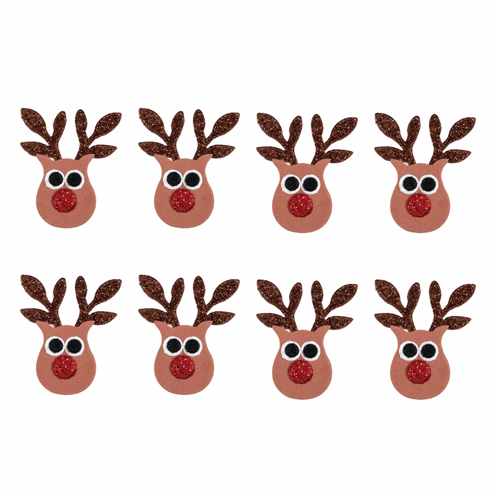 8 x Red Nosed Glitter Reindeer - Self Adhesive Christmas Craft Embellishments