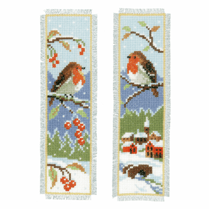 Vervaco Snow Scene Robin Counted Cross Stitch Bookmarks Kit 6 x 20cm x 2