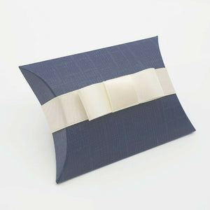 Navy - Silk Effect - Pillow Shaped Jewellery Wedding Gift Favour Boxes - With or Without Ribbon & Bow