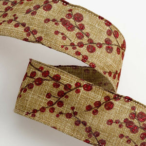 38mm Hessian Berry Spray - Dark Natural - Christmas Ribbon - Gift Wrapping, Card Making, Tree Decorating