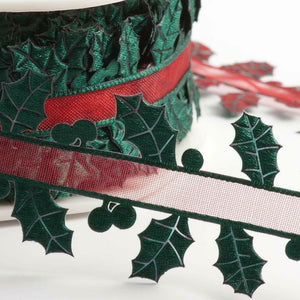 35mm Holly Leaf Ribbon - Christmas Ribbon - Gift Wrapping, Card Making, Tree Decorating