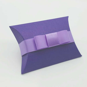 Purple - Silk Effect - Pillow Shaped Jewellery Wedding Gift Favour Boxes - With or Without Ribbon & Bow