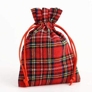 Red Tartan - Drawstring Favour Bags 1, 5 or 10 Pack Wedding Christmas - Fabric Bag
