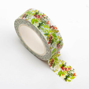 Holly - Christmas Themed Washi Tape - 15mm x 10m Re-positional Adhesive Roll - Paper Crafts, Christmas Decoration, Gift Wrapping
