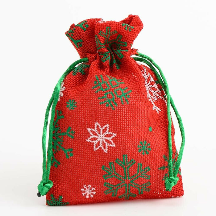 Snowflakes - Drawstring Favour Bags 1, 5 or 10 Pack Wedding Christmas - Fabric Bag