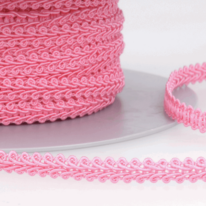 Bright Pink - Stephanoise 6mm Gimp Braid Scroll Trim - Upholstery Dress Costume