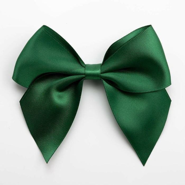 Bottle Green - Self Adhesive Pre Tied Bows - 10cm x 38mm Satin Ribbon