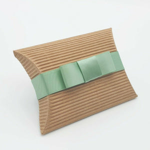 Corrugated - Pillow Shaped Jewellery Wedding Gift Favour Boxes - With or Without Ribbon & Bow