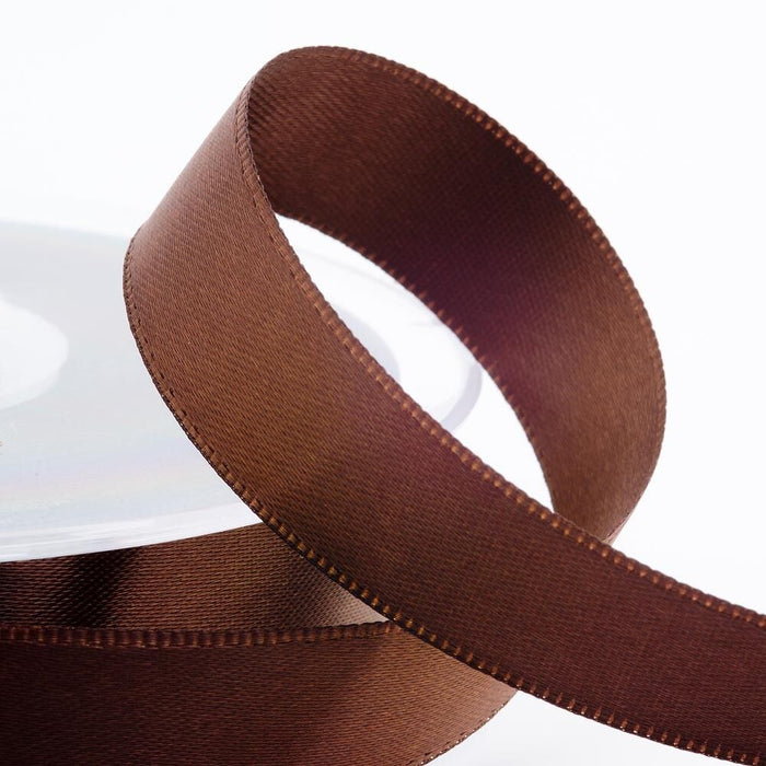 Brown Satin Ribbon - Double Faced - 6 Widths - Craft / Sewing