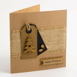Happy Christmas Panels Kraft - Handcrafted Christmas Craft Decorations - Handmade Card Embellishments
