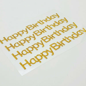 Gold Glitter Happy Birthday Stickers - Glitter Self Adhesive Embellishments