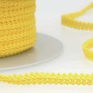 Bright Yellow - Stephanoise 6mm Gimp Braid Scroll Trim - Upholstery Dress Costume