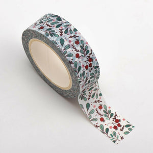 Red Bud Green Leaves - Christmas Themed Washi Tape - 15mm x 10m Re-positional Adhesive Roll - Paper Crafts, Christmas Decoration, Gift Wrapping