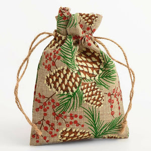 Pine Cones and Glitter Berries - Drawstring Favour Bags 1, 5 or 10 Pack Wedding Christmas - Hessian Bag