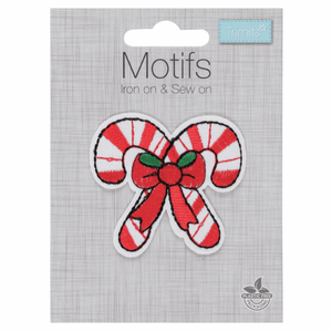 Candy Canes Christmas Craft Motif - Iron On & Sew On Festive Applique - Xmas Patch