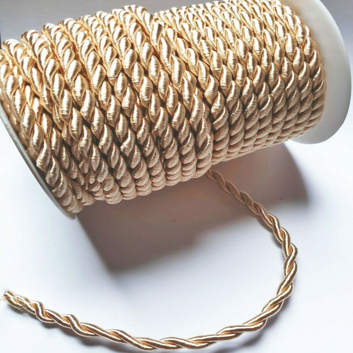 Champagne Gold - 6mm Satin Twisted Barley Braid Cord Rope Trim - Upholstery Xmas