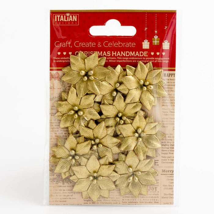 Poinsettias Metallic Gold - Handcrafted Christmas Craft Decorations - Handmade Card Embellishments