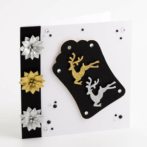 Glitter Reindeer Gold/ Silver - Handcrafted Christmas Craft Decorations - Handmade Card Embellishments