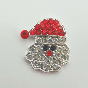 Santa Christmas Button x 1 - Festive Diamante Loose Shank Back Xmas Buttons