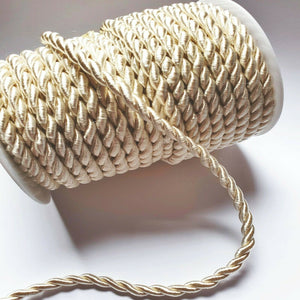 Ivory - 6mm Satin Twisted Barley Braid Cord Rope Trim - Upholstery Xmas
