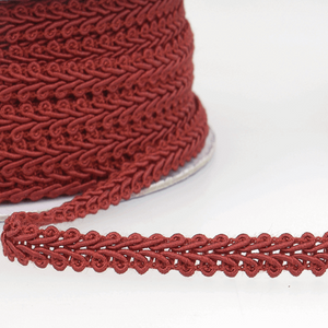 Burgundy - Stephanoise 6mm Gimp Braid Scroll Trim - Upholstery Dress Costume