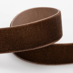 Dark Brown Velvet Ribbon - 3 Widths - 9mm, 18mm, 25mm - 1 Metre, 10 Metre Full Roll - Cut Lengths