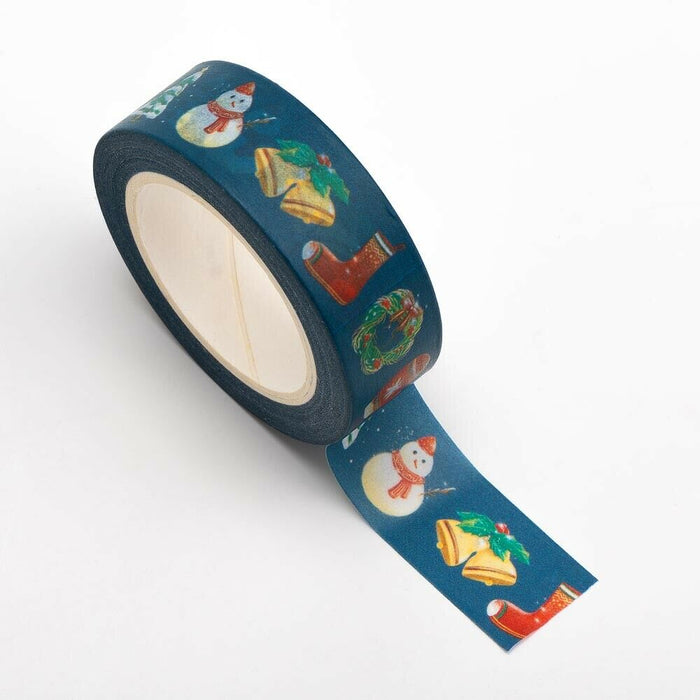 Christmas Themed Washi Tape - 15mm x 10m Re-positional Adhesive Roll - Paper Crafts, Christmas Decoration, Gift Wrapping